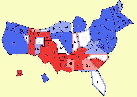cartogram of electoral map from 10 13 2008 polling data electroal vote