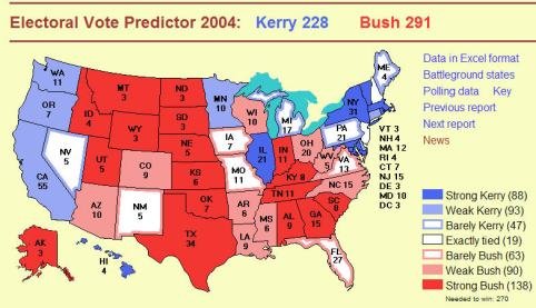 Electoral prediction for 2004 election based on 10-13-2004 polling data (electoral-vote.com)