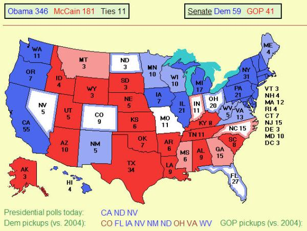 Electoral map from electoral-vote.com on 10-13-2008