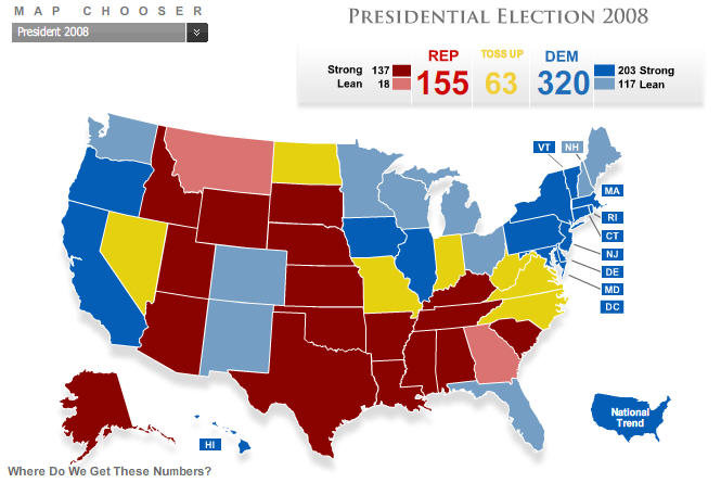electoral map from pollster com on 10 13 2008