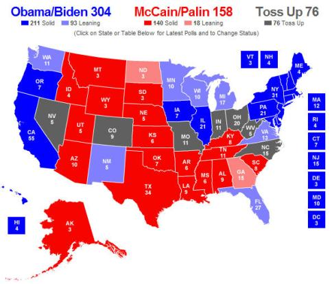 Electroal map from RealClearPolitics from polling on 10-13-2008 (realclearpolitics.com)