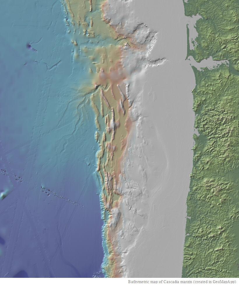 Bathymetric map of Cascadia margin (created in GeoMapApp)