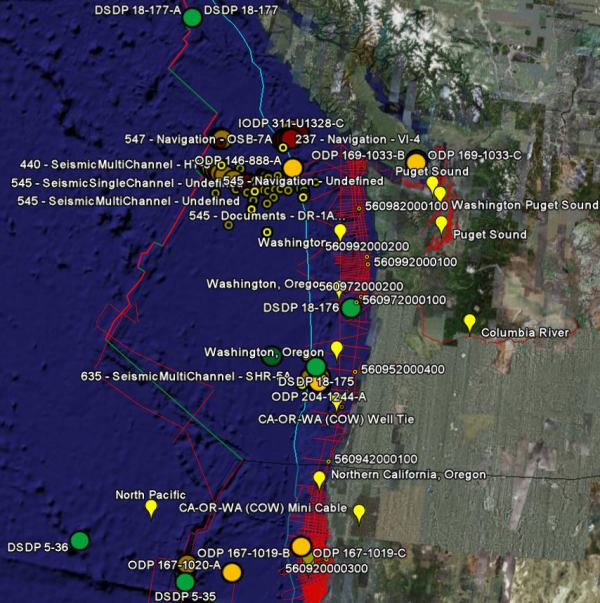 Screenshot of IODP and USGS Nat'l Archive of Marine Seismic Surveys data portals in GoogleEarth