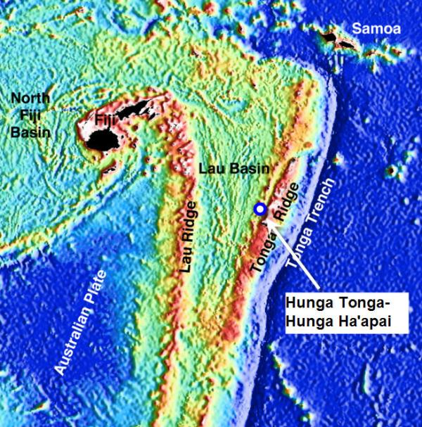 Locationof Hunga Tonga-Hunga Ha'apai volcano on Tonga arc (credit: http://www.science.psu.edu/alert/Images/r2k_laubathymetry.jpg)