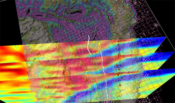 Screen grab of short animation showing perspective views of Lau Basin bathymetry and subsurface tomography (credit:http://ridgeview.ucsd.edu/index_lau.html)