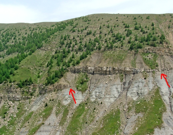 Strata onlapping basin margin; red arrows denote pinchout of sandstone bodies (© 2009 clasticdetritus.com)
